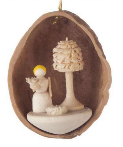 Tree Ornaments Flower Child in Walnut Shell