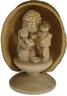 Miniature Bride and Groom in Walnut Shell