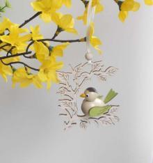 Behang Vogel im Zweig, grün