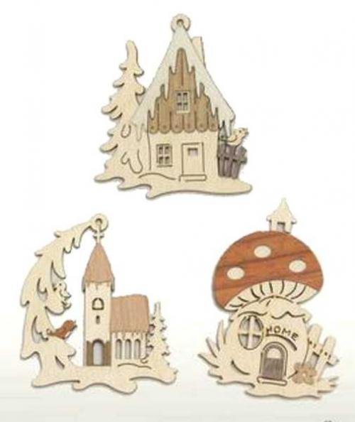 Tree Decoration Winterhouses, Set 6pcs
