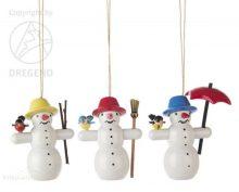 Treehanging Snowmen with Bird, 3-piece
