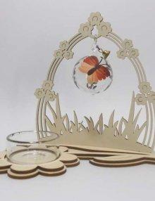 Teelichthalter Komet mit Blumentor Kugel Schmetterling