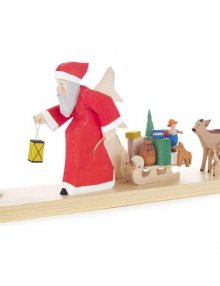 Candlestick Santa Claus with Sleigh and Deer