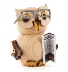 Wooden Figure Mini-Owl with Glasses