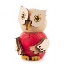 Wooden Figure Mini-Owl Red