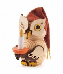 Wooden Figure Mini-Owl Sleepyhead