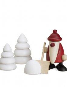 miniaturset 4, santa claus with snow shovel and trees