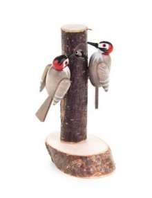 2 great spotted woodpeckers on the Trunk