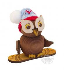 Wooden figure mini owl snowboard