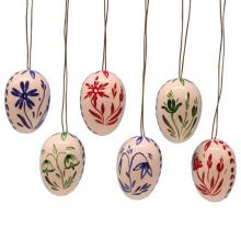 Hang 6 easter eggs with colorful flowers