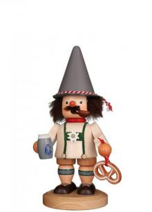 Smoker Bayer with pretzel and beer jug