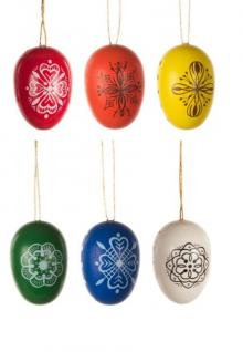 Ornaments 6 easter eggs with pattern