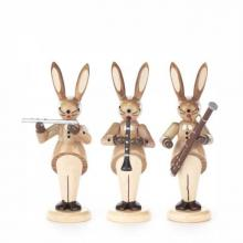 Rabbit trio with flute, oboe and bassoon, nature