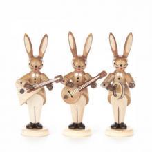 Rabbit trio with Balalaika, banjo and bell ring, natural