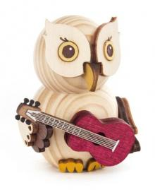 Holzfigur Mini-Eule mit Gitarre
