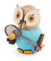 Wooden figure mini owl with tennis racket