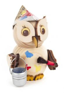 Wooden figure mini owl painter