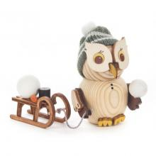 Wooden figure mini owl with sledge