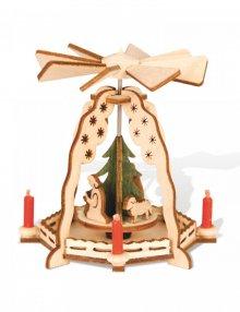 Mini pyramid of the Nativity with green tree