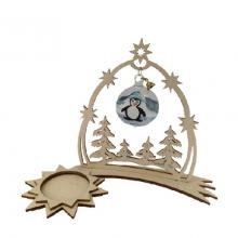 Tealight holder comet with heaven gate, penguin