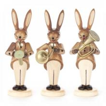 Rabbit Trio blowers with saxophone, French horn and tenor horn, nature