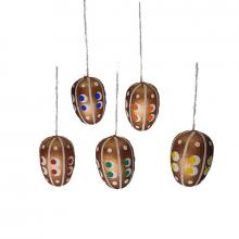 Curtain Easter eggs gold-brown 5-piece