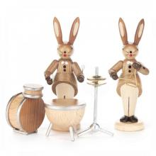 Rabbit Pair with drums and triangle, nature