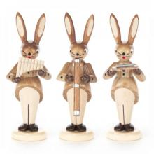 Rabbit trio with harmonica, pan flute and didgeridoo, nature