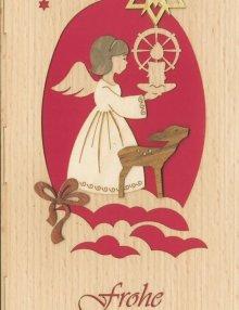 Christmas greeting card angel and deer