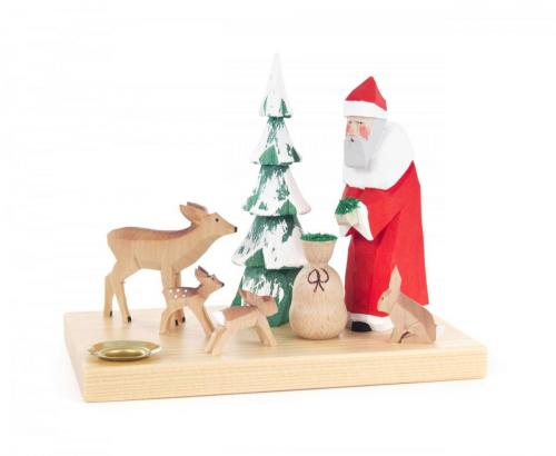 Candle holder Santa Claus with animals and tree