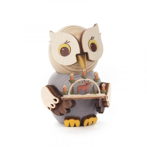 Wooden figure mini owl with candle arch