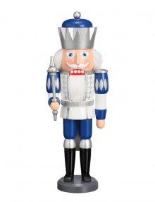 Nutcracker King white-silver-blue, 40 cm