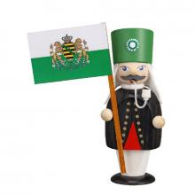 Smoking man miner with flag