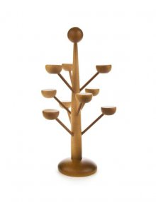Decorative tree for miniatures made from walnut shells