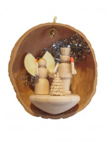 Tree hanging angel and miner in walnut shell
