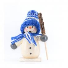 Smoker snowman with blue hat and broom