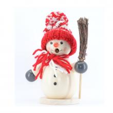 Smoker snowman with red hat and broom
