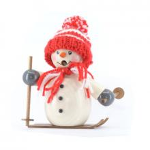 Smoking man snowman with red cap and skis