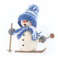 Smoking man snowman with blue cap and skis