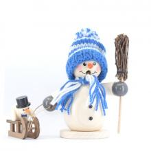 Smoker, snowman with sledge and child, blue