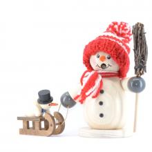 Smoker, snowman with sledge and child, red