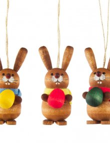 Hanging Easter bunny with egg, 3 pieces