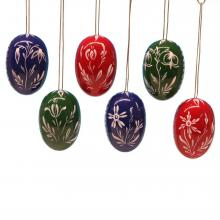 Tree Ornaments 6 easter eggs big with white flowers