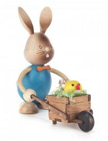 Easter bunny Stupsi with wheelbarrow