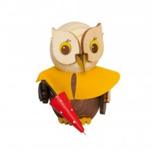 wooden figure mini owl with umbrella