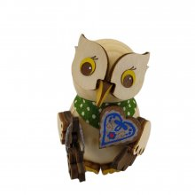Wooden figure mini owl with gingerbread heart