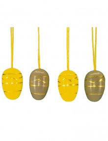 Small easter egg hanging, 10 pieces. grey and yellow