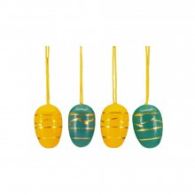 Small easter egg hanging, 10 pieces. yellow