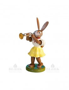 Blank Easter bunny with trumpet, colored