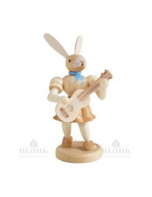 Blank Easter bunny with guitar, natural